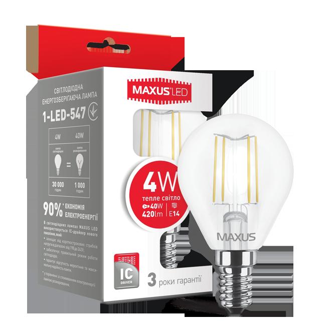 Лампа светодиодная MAXUS LED G45 FM 4w 3000K E14 1-LED-547
