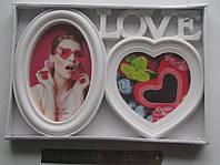 """Фото рамка-коллаж на 2 фото """"Love"""" 25.5 х 17.5 см.YW-006"""