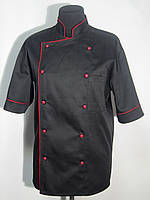 Китель поварской мужской черный с красным кантом Atteks - 00906
