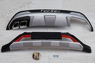 Губа спідниця накладки на бампера Hyundai Tucson 3 TL
