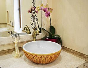 Декоративная накладная чаша (умывальник) белая с декоративным орнаментом снаружи, круглая, Ametist 0184