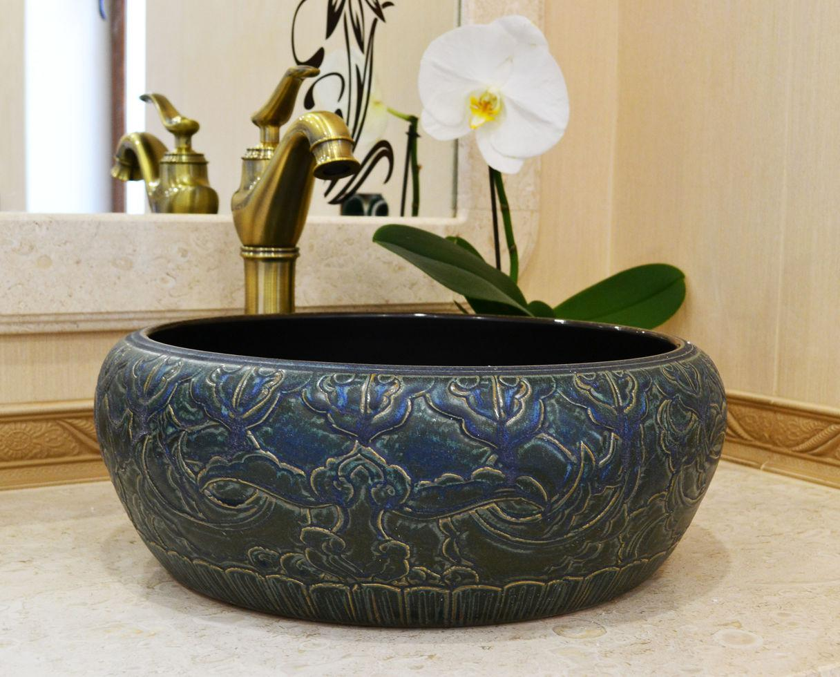 Декоративная накладная чаша (умывальник) черная, круглая, круглая, Ametist 00196