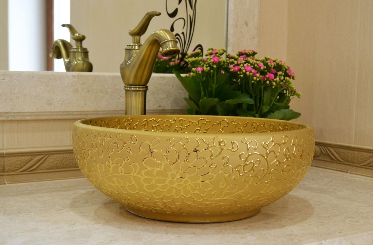 Декоративная накладная чаша (умывальник) золотая  с орнаментом, круглая, круглая, Ametist 00347