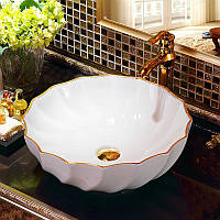 Декоративная накладная чаша (умывальник) белая с золотым орнаментом, круглая, круглая, Ametist 00349