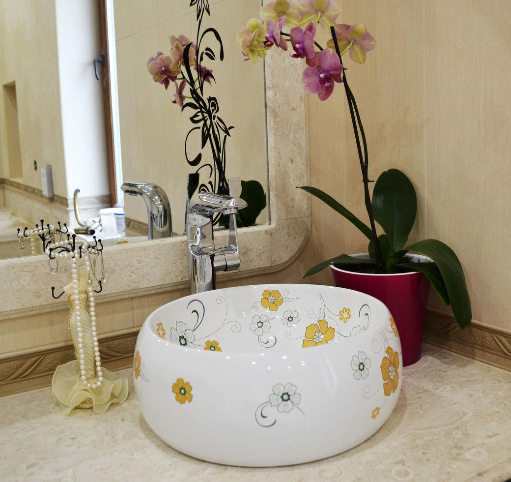 Декоративная накладная чаша (умывальник) белая с цветочным орнаментом, круглая, круглая, Ametist 00306