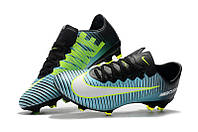 Футбольные бутсы Nike Mercurial Vapor XI FG Light Aqua/White/Volt, фото 1