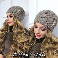 Женская вязаная шапка-чулок в разных цветах tez210735