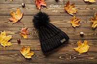 Женская теплая шапка на флисе с бубоном из песца tez270759