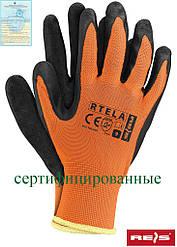 Рабочие перчатки покрытые латексом REIS Польша (перчатки защитные) RTELA PB