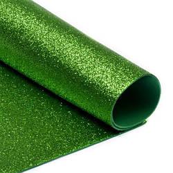 Фоамиран  с глиттером А4 1шт Зеленый