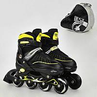 Ролики М размер 35-38 Best Rollers, колёса PU, в сумке  d=7 cм. Детские, для детей, мальчиков и девочек. Желты
