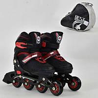 Ролики Best Rollers S размер 31-34 (30-33), колёса PU, без света, в сумке, d=6.4 см. Детские, для детей, черный