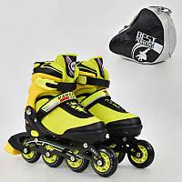 Ролики Best Rollers М размер 35-38, колёса PU, без света, в сумке, d=7см. Детские, для детей, желтый
