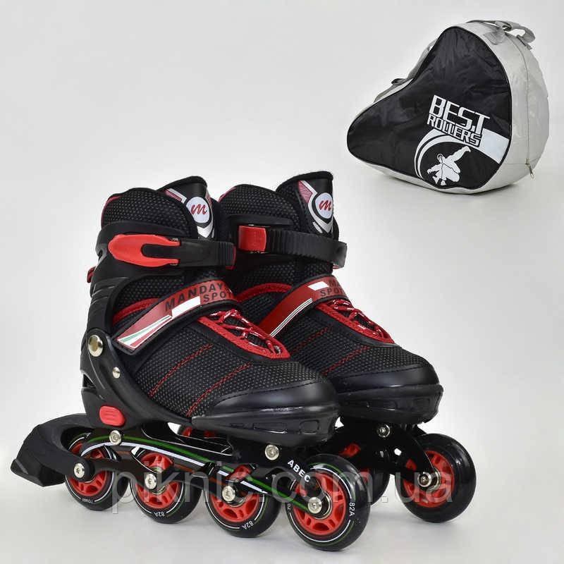 Ролики Best Rollers М размер 35-38, колёса PU, без света, в сумке, d=7см. Детские, для детей, черный