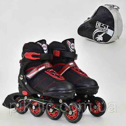 Ролики Best Rollers М размер 35-38, колёса PU, без света, в сумке, d=7см. Детские, для детей, черный, фото 2