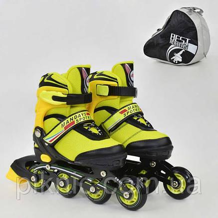 Ролики Best Rollers L размер 39-42, колёса PU, без света, в сумке, d=7.6 см. Желтый, фото 2