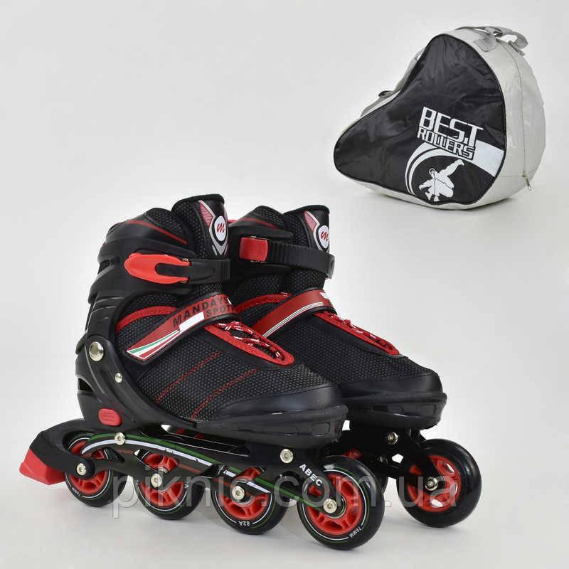 """Ролики """"L"""" Best Rollers размер 39-42, колёса PU, без света, в сумке, d=7.6 см. Красный"""