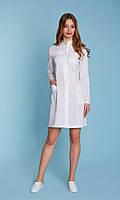 Медицинский женский халат белый, длинный рукав. Размеры 42 - 56