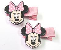 Детские заколочки для волос Минни Маус розовые