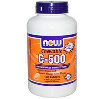 Жевательный витамин С - 500, Now Foods, апельсин, 100 таблеток