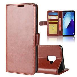 Чехол книжка для Samsung Galaxy A8 Plus 2018 A730 боковой с отсеком для визиток, Гладкая кожа, коричневый