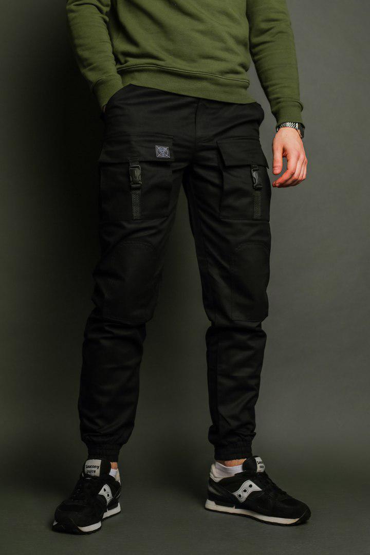 Штаны карго мужские черные бренд ТУР модель Бейн (Bane). Размеры S, M, L, XL, XXL