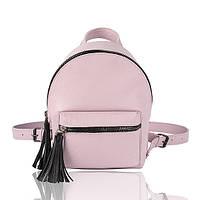 Рюкзак кожаный лавандовый с черными кисточками, фото 1