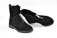 Ботинки черные замшевые спереди змейка