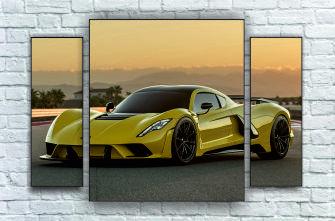 """Модульна картина"""" Жовтий спортивний автомобіль"""""""