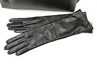 L190ItalЧёрные Перчатки женские кожа длинные зимние кашемир