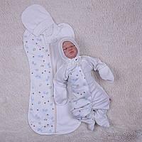 Комплект для новорожденного пеленка-кокон и человечек с шапочкой Жирафики