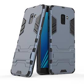 Чехол накладка для Samsung Galaxy A8 Plus 2018 A730 противоударный силиконовый с пластиком, Alien, темно-синий