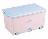 Ящик для игрушек Tega KR-010 pink/blue ЗАЙЦЫ розовый с синей крышкой