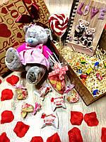 Подарочный набор с мишкой Тедди-девочкой в милом платье, лучший подарок к 14 Февраля