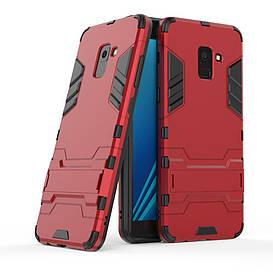 Чехол накладка для Samsung Galaxy A8 Plus 2018 A730 противоударный силиконовый с пластиком, Alien, красный