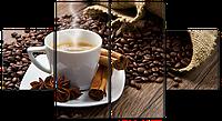 """Модульная картина на искусственной коже""""Кофе с корицей""""122* 64 см"""
