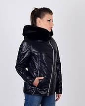 Женская куртка косуха утепленная 44-50р черная, фото 2