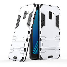 Чехол накладка для Samsung Galaxy A8 Plus 2018 A730 противоударный силиконовый с пластиком, Alien, серебристый