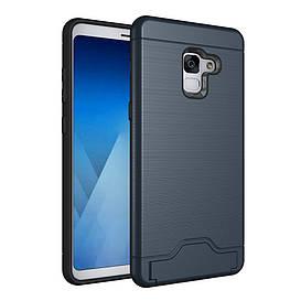 Чехол накладка для Samsung Galaxy A8 Plus 2018 A730 противоударный матовый силикон с пластиком, темно-синий