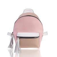 Рюкзак кожаный розово-белый матовый, фото 1