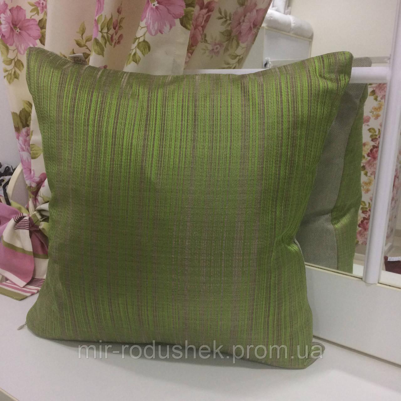 """Декоративная подушка """"Миле"""" комбинированная 45х45 мелкая полоса, наволочка на молнии, наполнитель холлофайбер"""