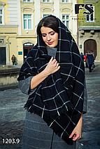 Сірий стильний вовняний шарф-плед, фото 3