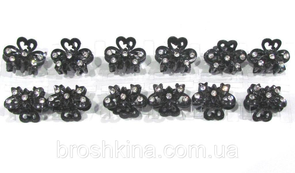 Крабик для волос L 2,5 см черный металл с белыми стразами 12 шт/уп