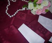 Скатерть Perrini 120-142 цвет бордовый