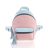 Рюкзак кожаный розово-голубой матовый, фото 1