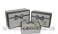 Класичні подарункові коробки з бантом набір 3шт 17,5х12,5х6,5 см