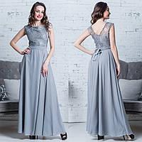 """Вечернее длинное платье нарядное серебро """"Ривьера"""""""