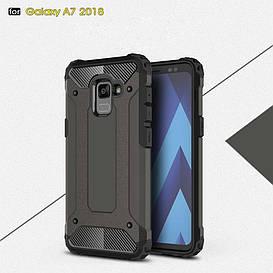 Чехол накладка для Samsung Galaxy A8 Plus 2018 A730 противоударный, Spider, темно-коричневый