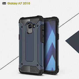 Чехол накладка для Samsung Galaxy A8 Plus 2018 A730 противоударный, Spider, темно-синий