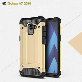 Чехол накладка для Samsung Galaxy A8 Plus 2018 A730 противоударный, Spider, золотистый